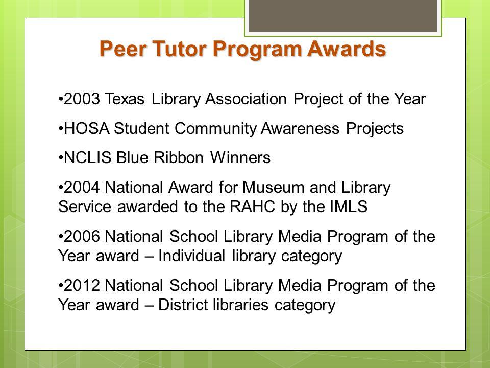 Peer Tutor Program Awards