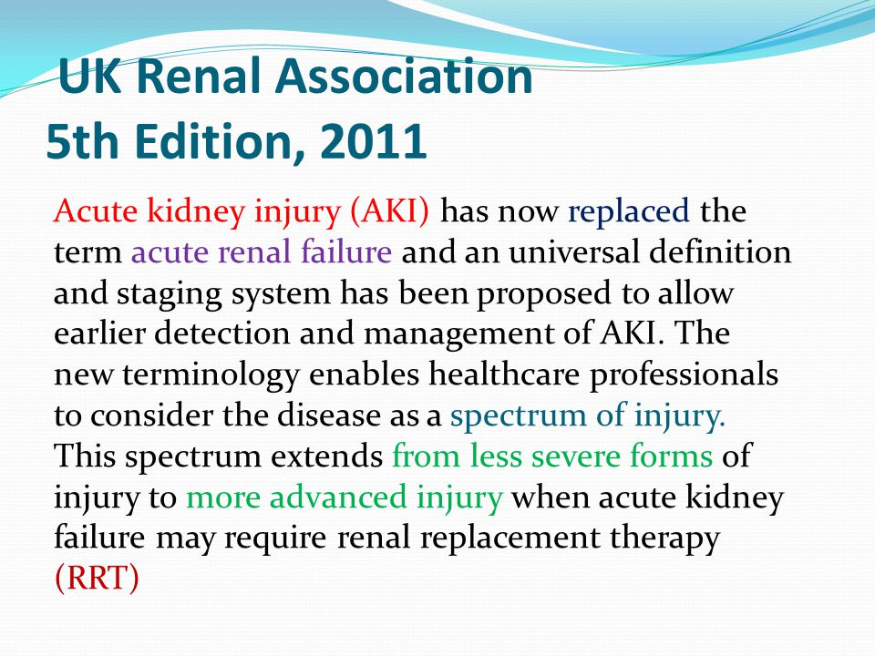 UK Renal Association 5th Edition, 2011