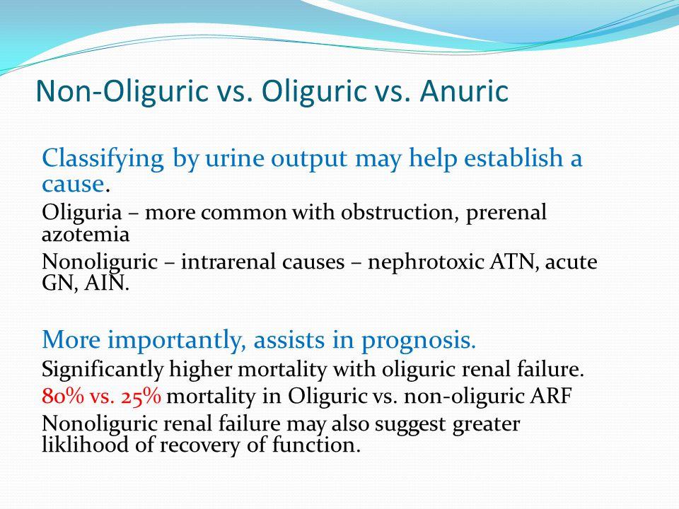 Non-Oliguric vs. Oliguric vs. Anuric