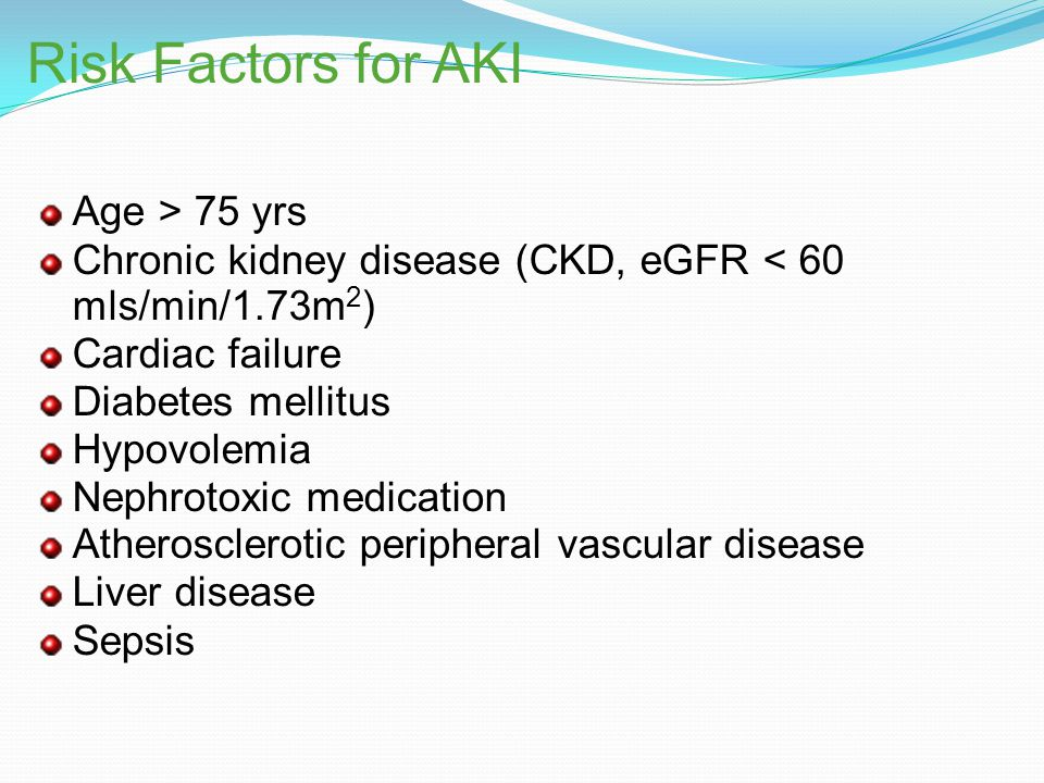 Risk Factors for AKI Age > 75 yrs