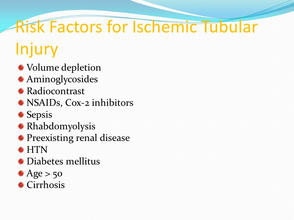 Risk Factors for Ischemic Tubular Injury