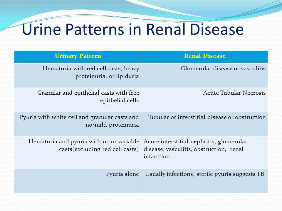 Urine Patterns in Renal Disease
