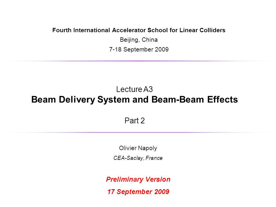 Beam Delivery System and Beam-Beam Effects