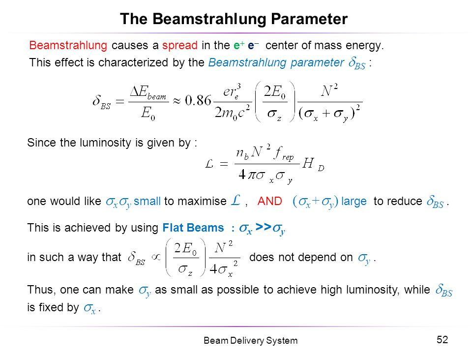 The Beamstrahlung Parameter