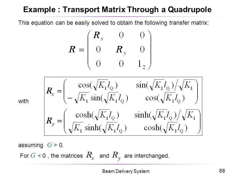 Example : Transport Matrix Through a Quadrupole