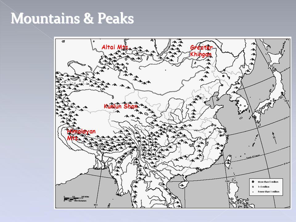 Mountains & Peaks Altai Mts. Greater Khingan Tian Shan Kunlun Shan