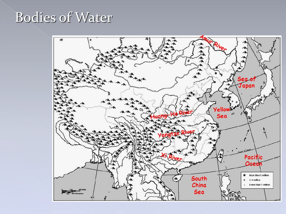 Bodies of Water Amur River Sea of Japan Yellow Sea Huang-He River