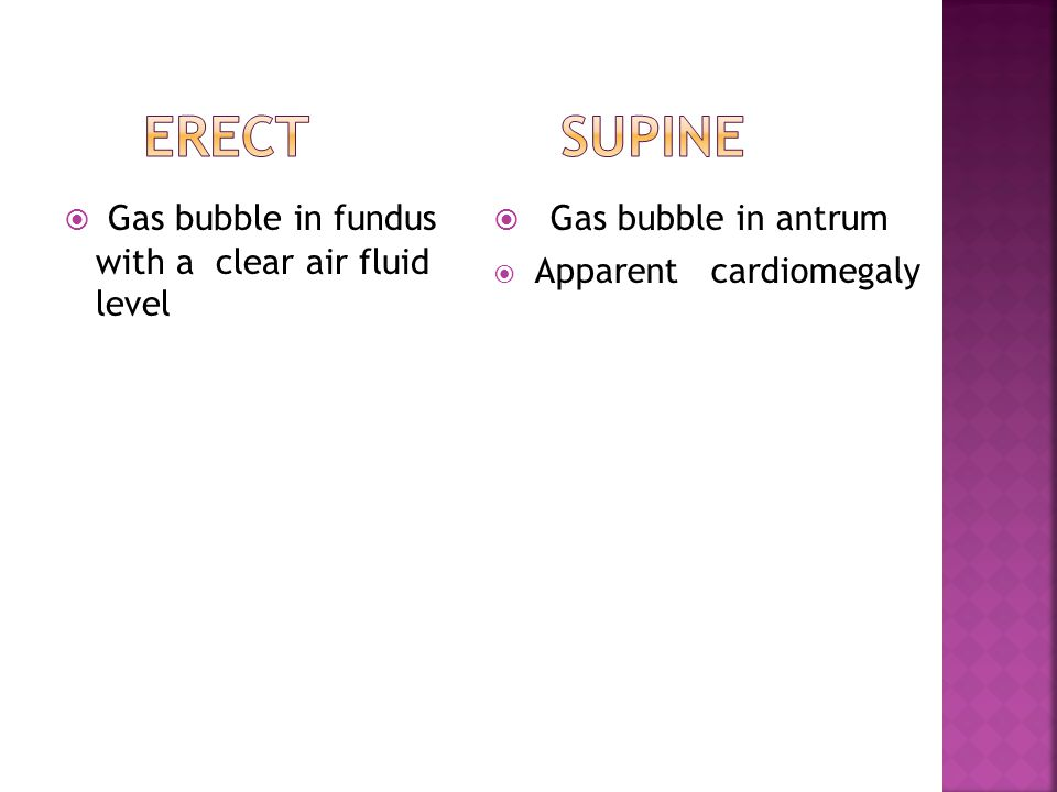 ERECT SUPINE Gas bubble in fundus with a clear air fluid level