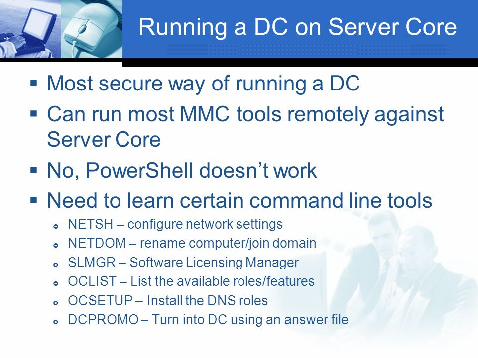 Running a DC on Server Core
