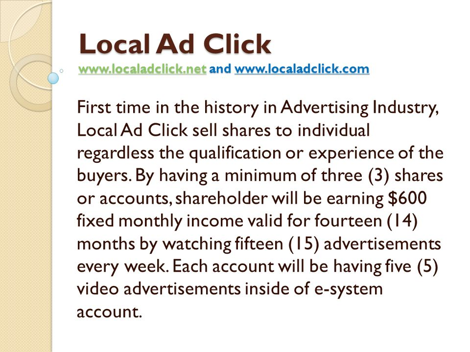 Local Ad Click www.localadclick.net and www.localadclick.com
