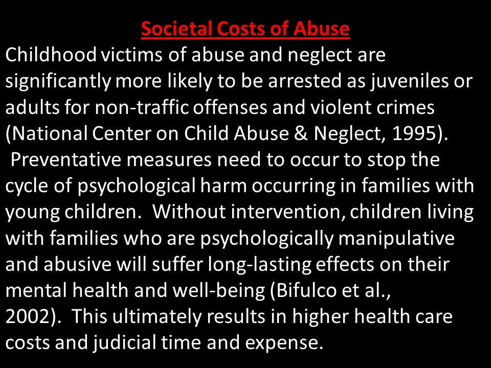 Societal Costs of Abuse