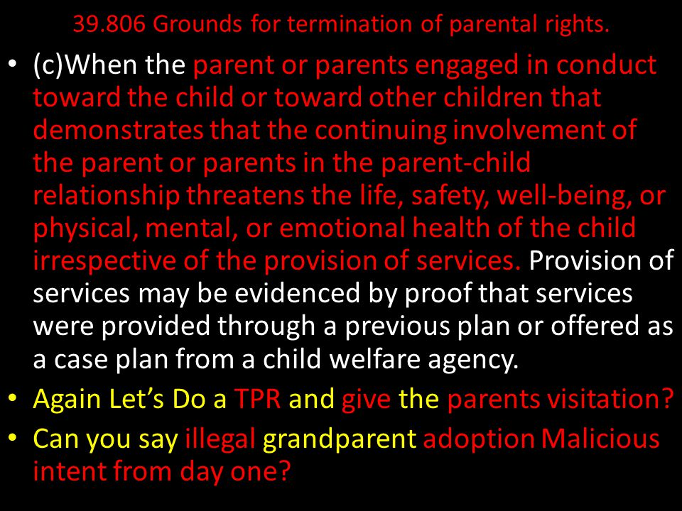 39.806 Grounds for termination of parental rights.