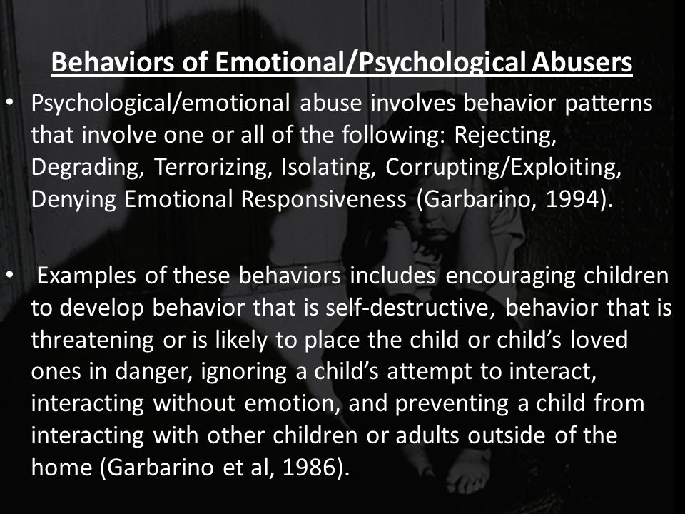 Behaviors of Emotional/Psychological Abusers