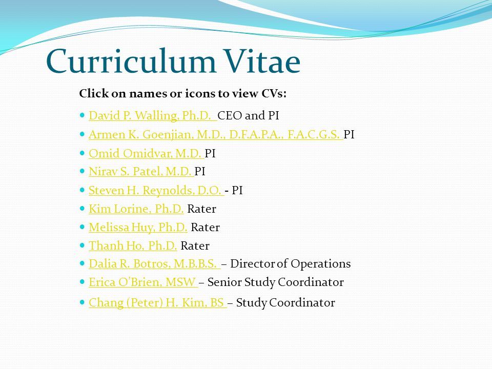 Curriculum Vitae Click on names or icons to view CVs: