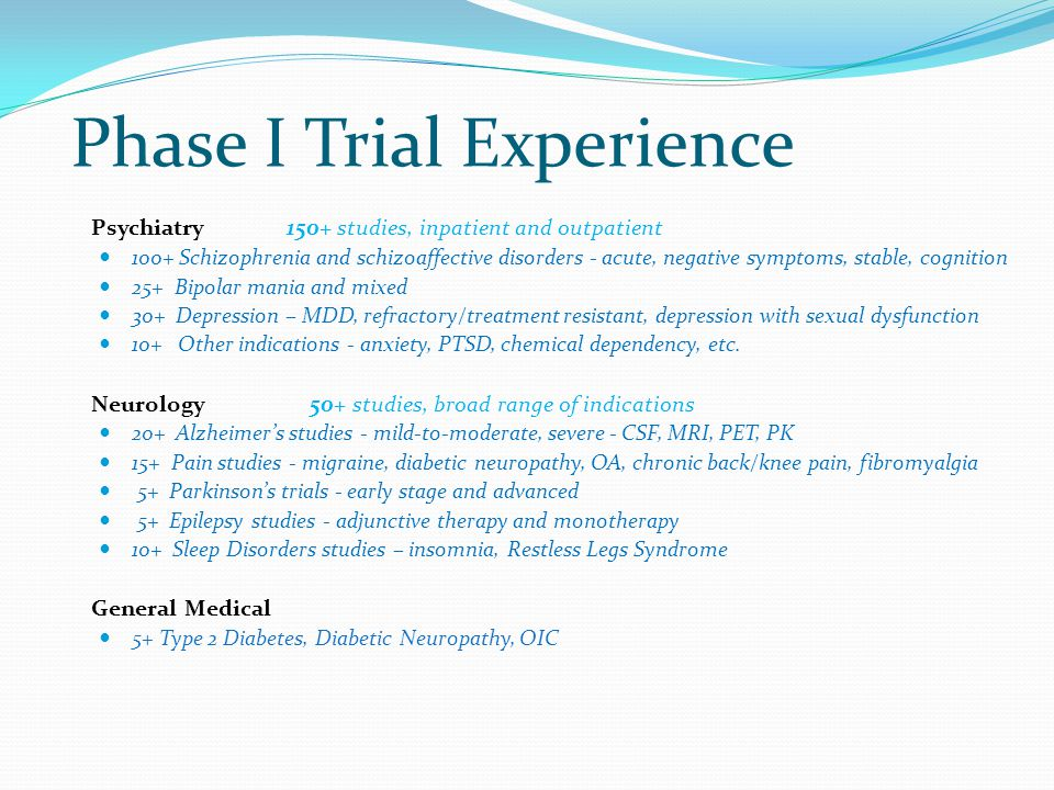 Phase I Trial Experience