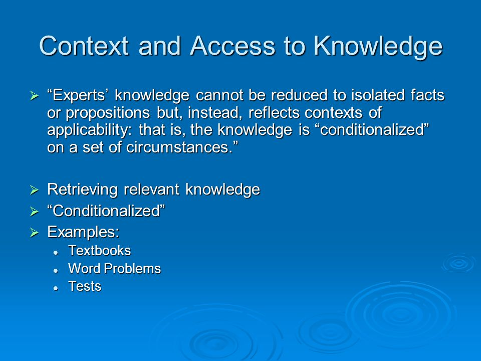 Context and Access to Knowledge