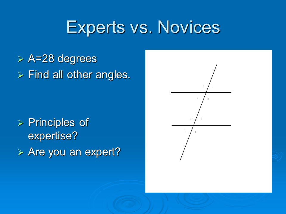 Experts vs. Novices A=28 degrees Find all other angles.