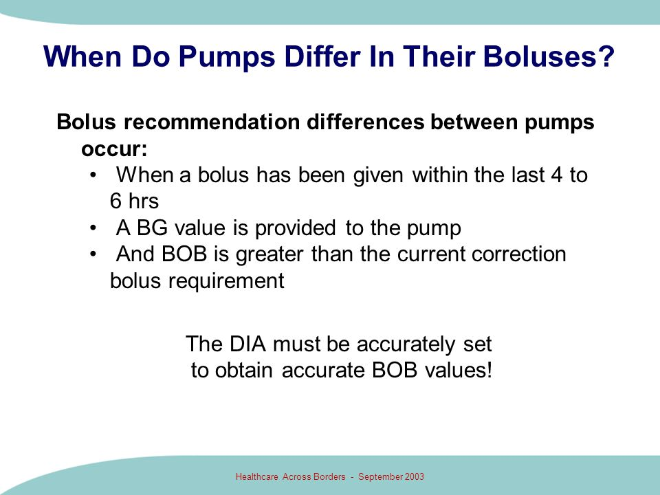 When Do Pumps Differ In Their Boluses