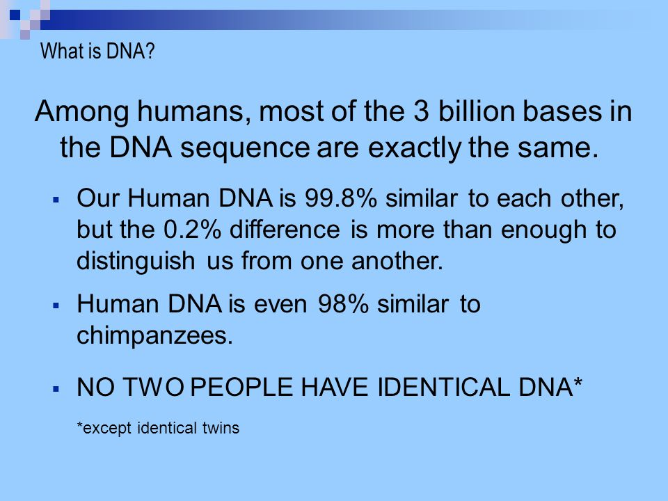 What is DNA Among humans, most of the 3 billion bases in the DNA sequence are exactly the same.
