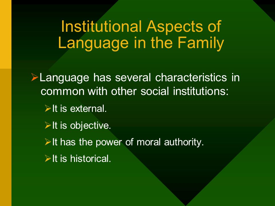 Institutional Aspects of Language in the Family
