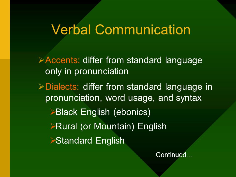 Verbal Communication Accents: differ from standard language only in pronunciation.