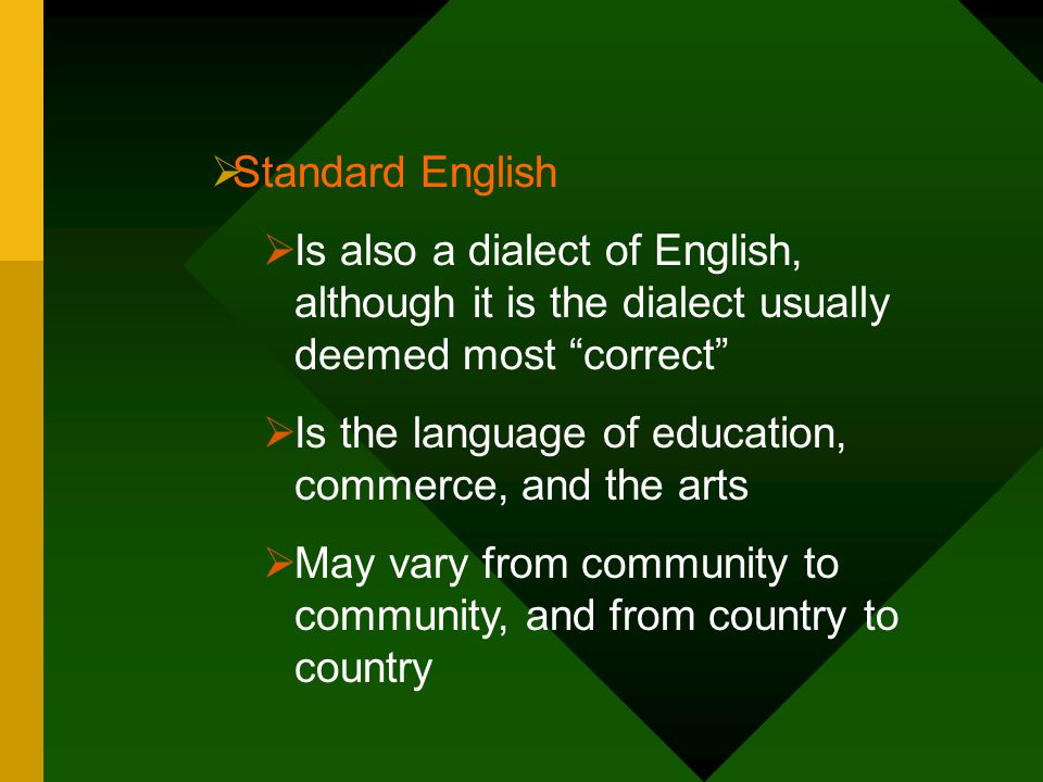 Standard English Is also a dialect of English, although it is the dialect usually deemed most correct