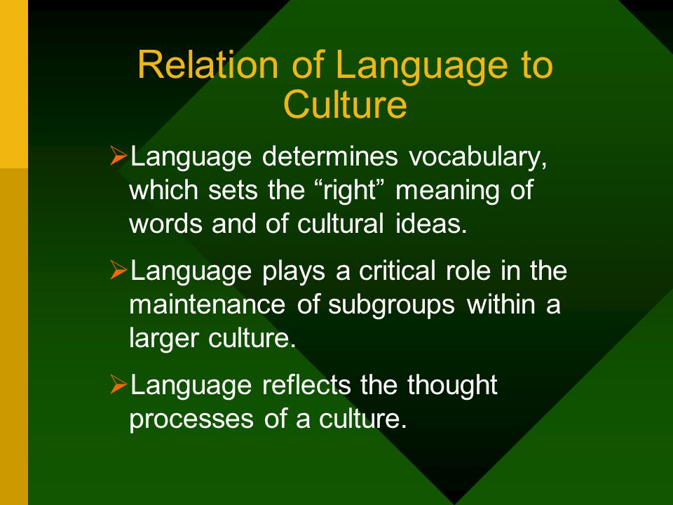 Relation of Language to Culture
