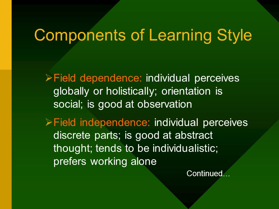 Components of Learning Style