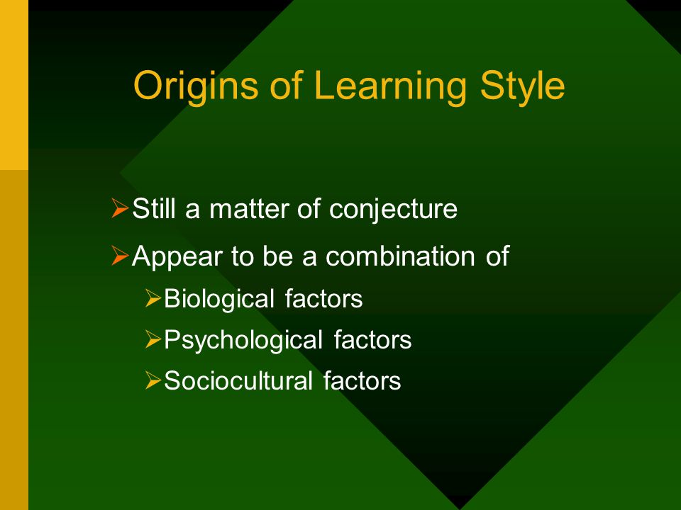 Origins of Learning Style