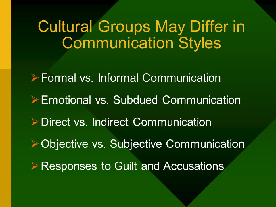 Cultural Groups May Differ in Communication Styles