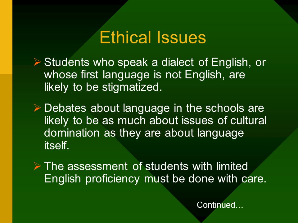 Ethical Issues Students who speak a dialect of English, or whose first language is not English, are likely to be stigmatized.