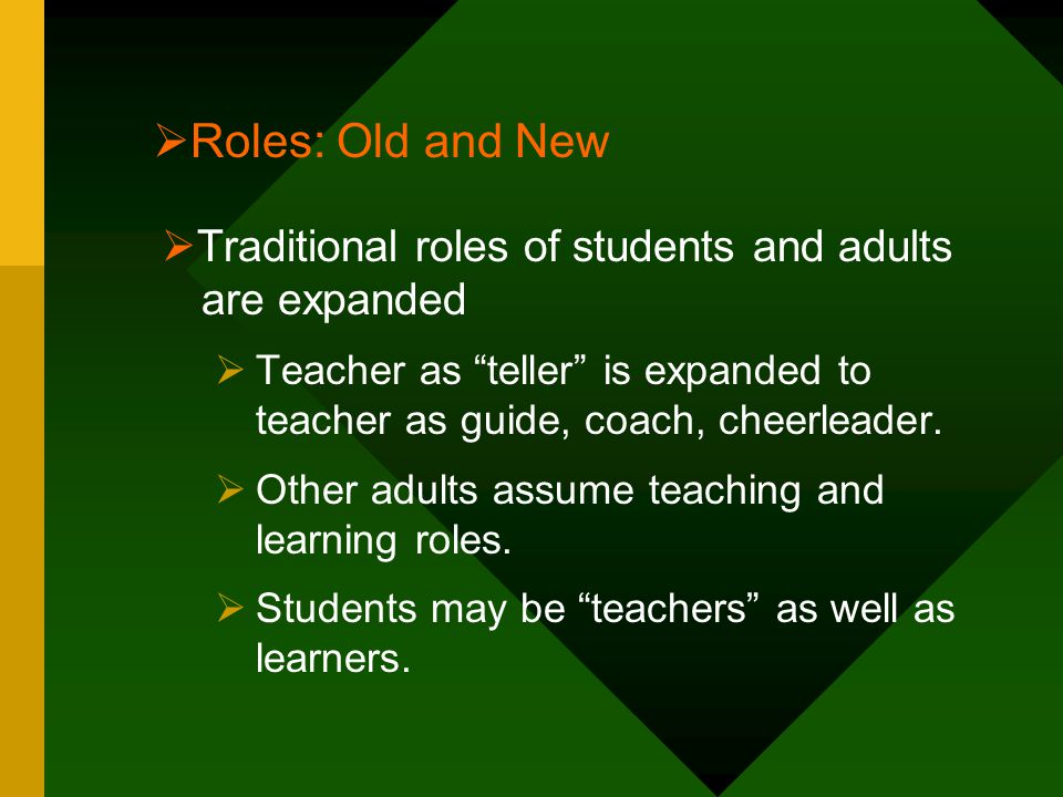 Roles: Old and New Traditional roles of students and adults are expanded.