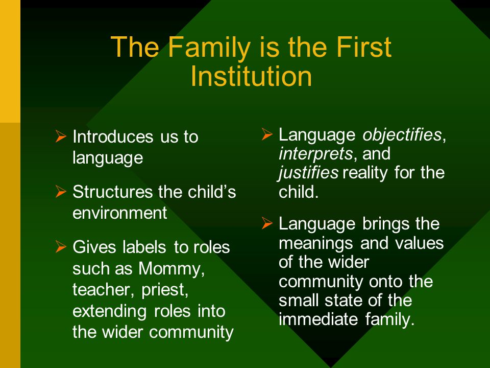 The Family is the First Institution