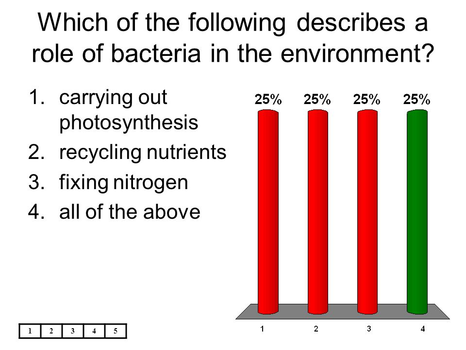 Which of the following describes a role of bacteria in the environment