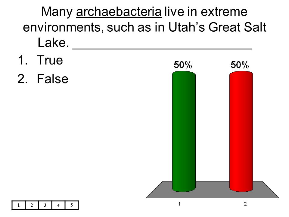Many archaebacteria live in extreme environments, such as in Utah's Great Salt Lake. _________________________