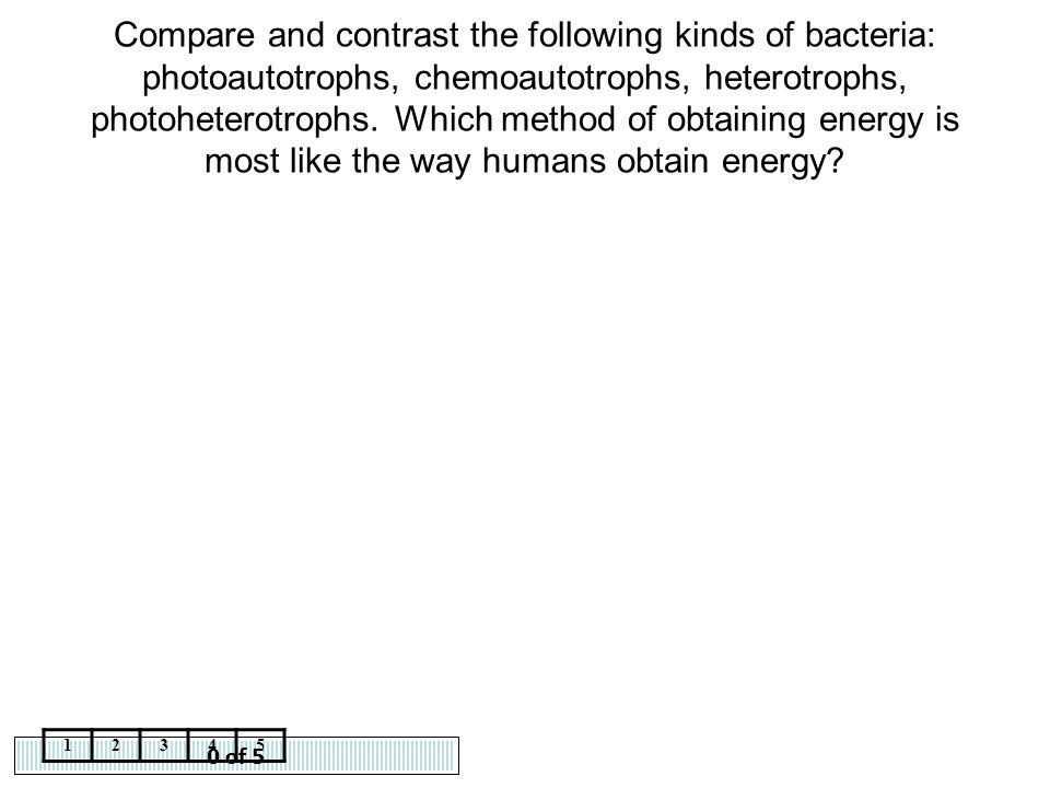 Compare and contrast the following kinds of bacteria: photoautotrophs, chemoautotrophs, heterotrophs, photoheterotrophs. Which method of obtaining energy is most like the way humans obtain energy