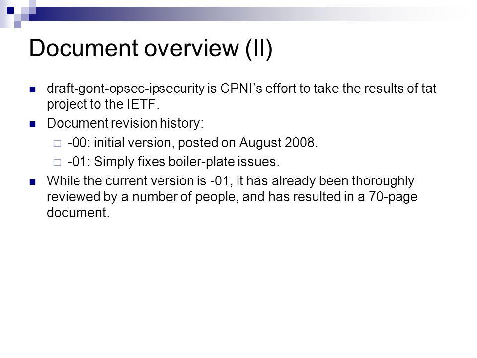 Document overview (II)