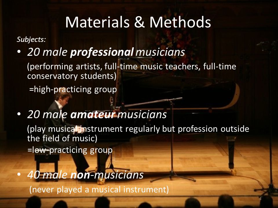 Materials & Methods 20 male professional musicians