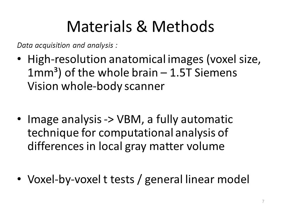 Materials & Methods Data acquisition and analysis :