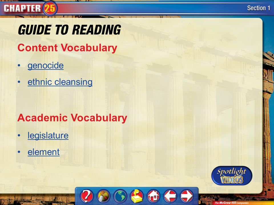 Content Vocabulary Academic Vocabulary genocide ethnic cleansing