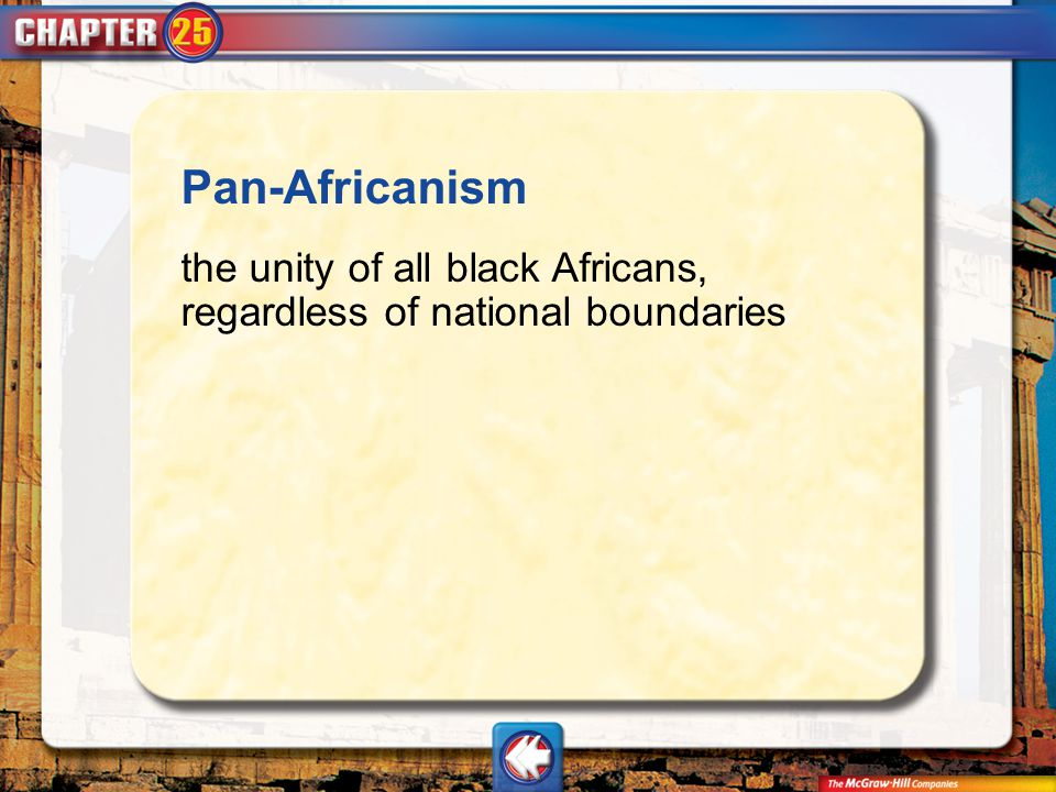 Pan-Africanism the unity of all black Africans, regardless of national boundaries Vocab5