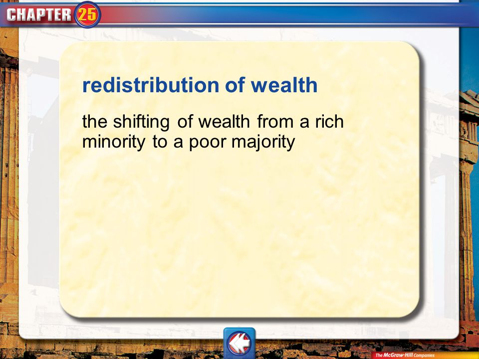 redistribution of wealth