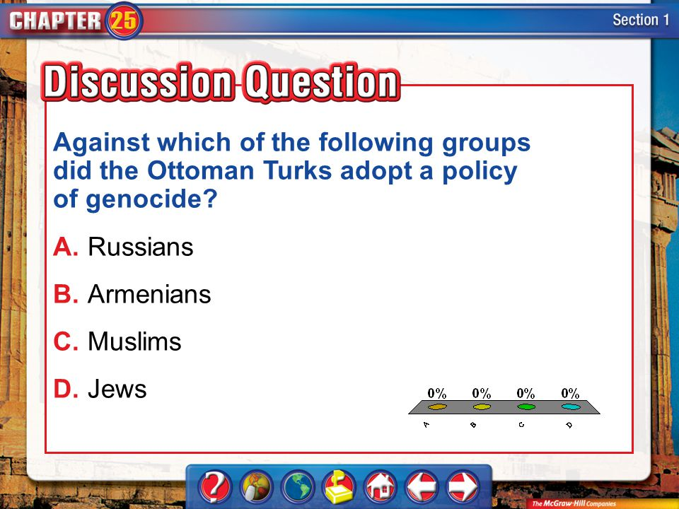 Against which of the following groups did the Ottoman Turks adopt a policy of genocide