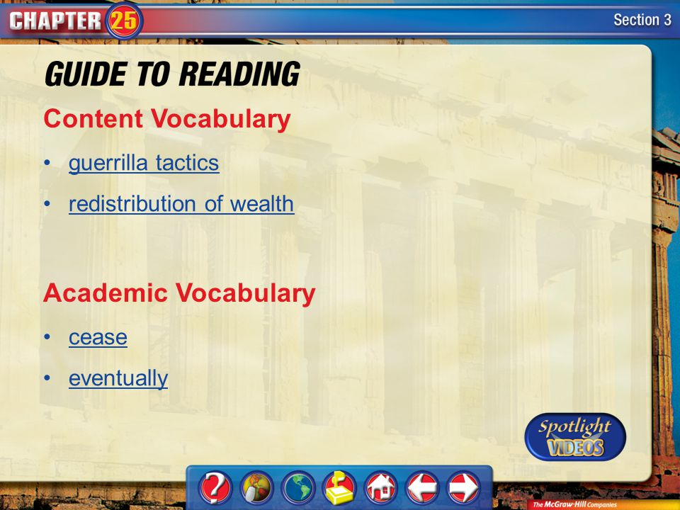 Content Vocabulary Academic Vocabulary guerrilla tactics