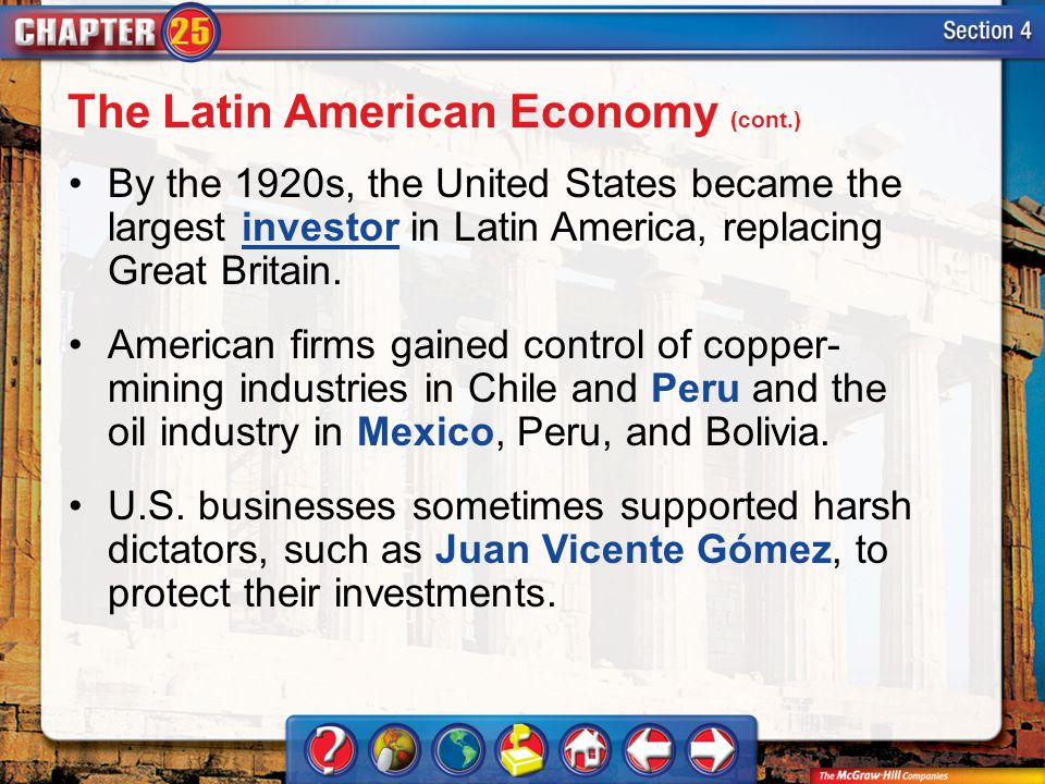 The Latin American Economy (cont.)