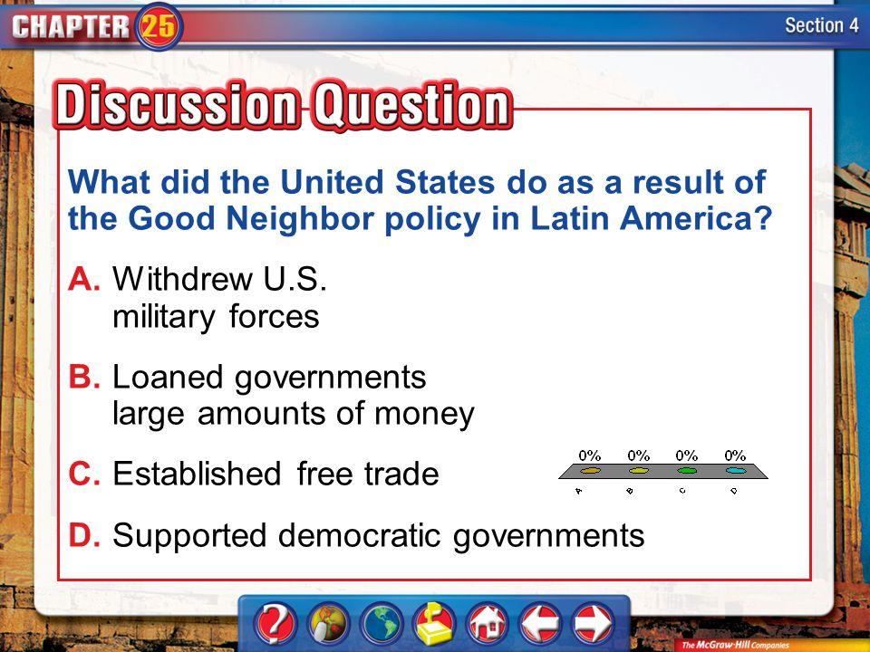 What did the United States do as a result of the Good Neighbor policy in Latin America