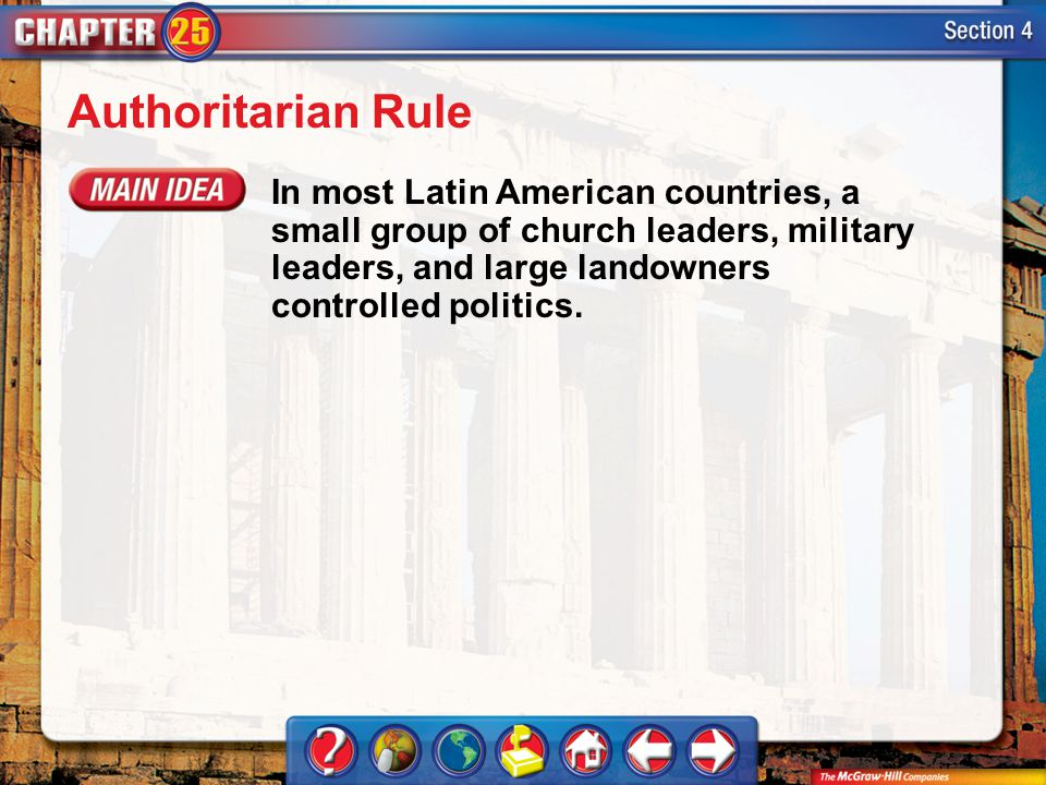 Authoritarian Rule In most Latin American countries, a small group of church leaders, military leaders, and large landowners controlled politics.