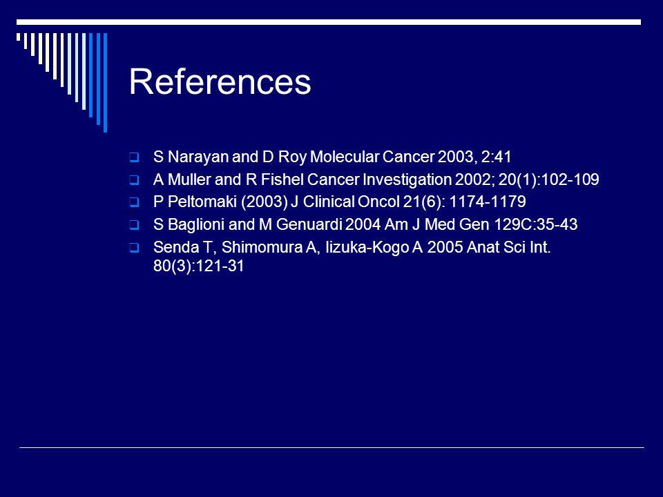 References S Narayan and D Roy Molecular Cancer 2003, 2:41