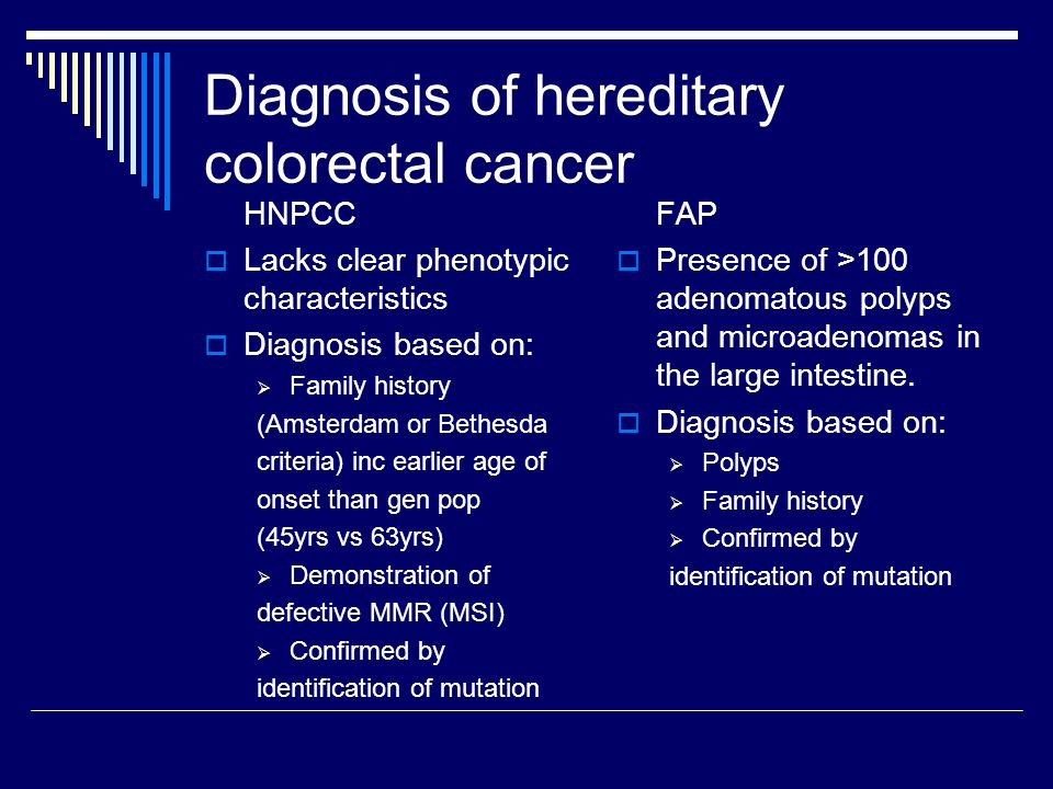 Diagnosis of hereditary colorectal cancer