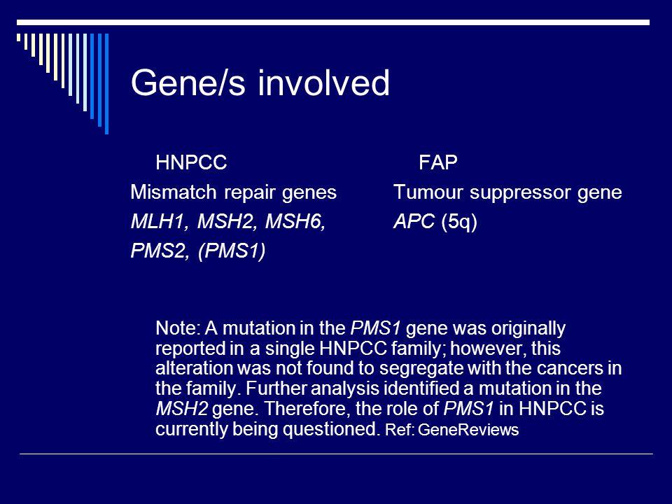 Gene/s involved HNPCC Mismatch repair genes MLH1, MSH2, MSH6,
